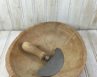 Vintage Wooden Chopping Bowl and Chopping Blade