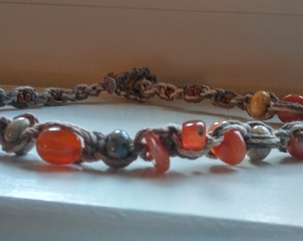 Hemp necklace/hemp choker/hippie necklace/crazy agate/ carnelian/healing stone