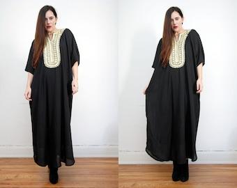 Vintage Cape Kimono Grecian Gold Kaftan Maxi Dress 70s