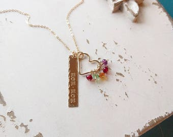 Mother's Birthstone Necklace, Dainty Bar Necklace, Heart Necklace, Gift for Grandma, Gift for Mom, Gold, Silver, Rose Gold, Dainty Necklace