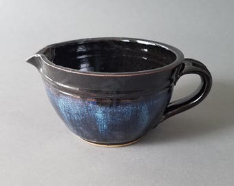 Mixing Batter Bowl with Spout and Handle in Gloss Black and Blue Handmade Pottery