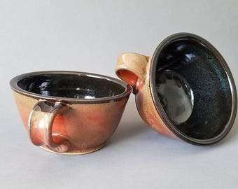 Set of 2 or 4 Handled Deep Sides Soup and Cereal Bowls Chowder Mug Handles Oiled Mahogany Black Brown