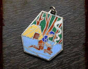 Antique French camping enamel Medal Pendant - Vintage Jewelry pendant from France