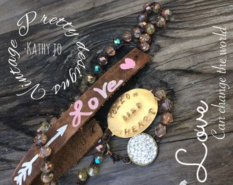 Leather, beaded, stamped,boho,follow your heart bracelet