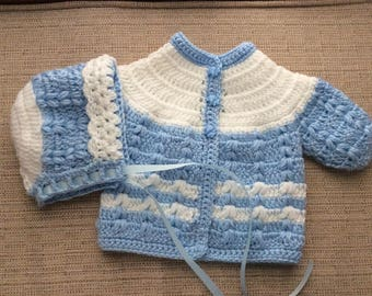 Sweater set Newborn color blue and white