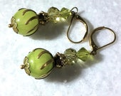 Lime Green Serpentine Jade and Crystal Earrings // Spring Earrings // Brass Cat's Claw Bead Caps