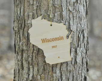 Natural Wood Wisconsin State Ornament WITH 2017