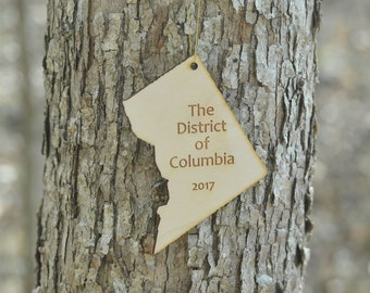 Natural Wood The District of Columbia Ornament WITH 2017