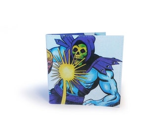 Skeletor & He-Man Masters of the Universe Wallet - Recycled vintage book page in vinyl