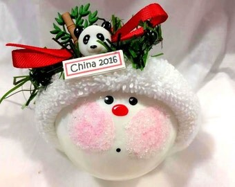 CHINA Souvenir Christmas Ornaments Panda Bamboo Hand Painted Handmade Personalized Themed by Townsend Custom Gifts (F) - BR