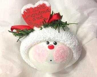 Grandma Grandpa Christmas Ornaments Gift Personalized Red Heart I Love Grandma & Grandpa Hand Painted Handmade Townsend Custom Gifts - F