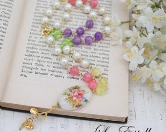 Tensha necklace Floral Pendant necklace Garden necklace Floral Statement Necklace Ivory Pearl Necklace Summer Necklace - Summer Florals