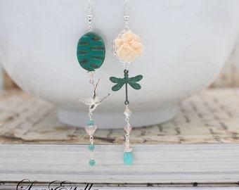 Peach Asymmetrical Earrings peach and Teal Earrings Turquoise mismatch earrings Boho Floral Earrings Dragonfly earrings - By the Pond