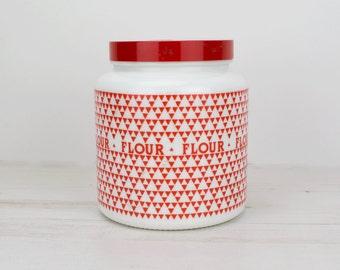 Vintage Flour Barrel Canister - Red - White - Holder - Triangle - Kitsch - Kitchenware - Baking - Holder - Lidded