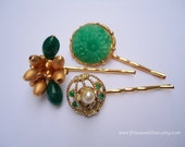 Vintage earrings hair slides - Chinese jade dark emerald green gold unique girl gift fancy fun jeweled embellish decorative hair accessories