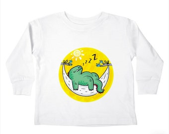 DiNOSNORE- Dinosaur - Toddlers - LongSleeve Boys / Girls T-shirt / Tee by Oliver Lake - iOTA iLLUSTRATiON