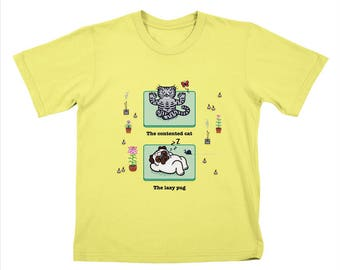 YOGA POSES - Pug and Cat - Childrens T-shirt / Tee / Kids / Youth - Lemon Yellow by Oliver Lake - iOTA iLLUSTRATION