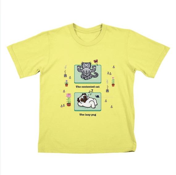 YOGA POSES - Pug and Cat - Childrens T-shirt / Tee / Kids / Youth - Lemon Yellow by Oliver Lake - iOTA iLLUSTRATION