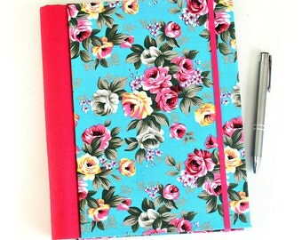Fabric journal // STELLA IN TURQUOISE hardbound spiral notebook jotter diary