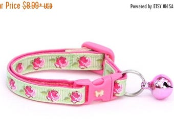 ON SALE Floral Cat Collar - Pink Tea Party Roses on Green- Small Cat / Kitten Size or Large Size