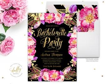Bachelorette Party Invite, Bachelorette Party Invitation, Hens Party Invitation, Pink Black Bachelorette Party Invitation, Girls Night Out