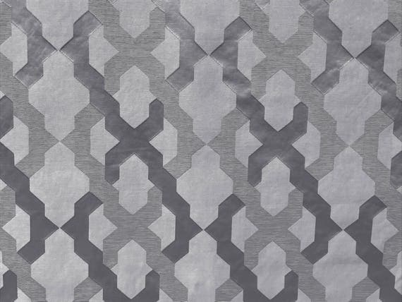 Gray Silver Geometric Trellis Curtain Fabric By The Yard Upholstery Wholesale Drapery Window Treatment Sofa For Sale From FabricMart