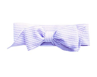 Lavender Seersucker Fabric Bow Headwrap - Infant Headband - Fabric Headband - Baby Headband - Topknot Headband - Toddler Headband Big Bow