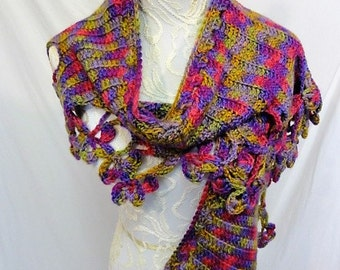flower edged wrap spring colors of green purple pink and lavender wool mohair nylon