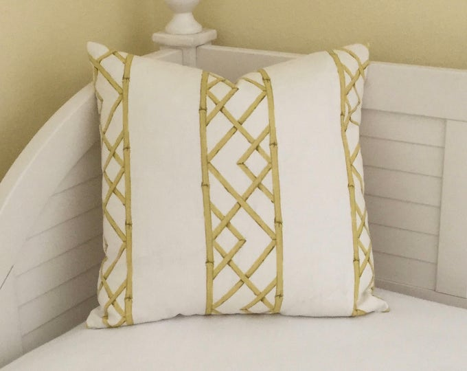 Kravet Latticely in Citrine Linen Designer Pillow Cover - Square  and  Euro Sizes