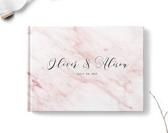 Wedding sign in book, Landscape or Portrait, Wedding guest book, Pink Marble gb0103