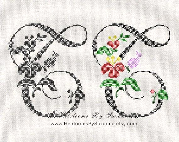 Large antique floral monogram machine cross stitch