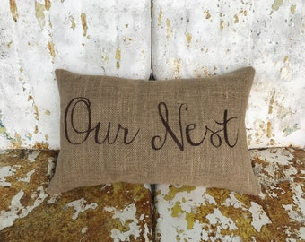 OUR NEST Lumbar Painted Burlap Pillow Throw Accent Pillow Custom Colors Available Summer Accent Decor Hostess Gift Housewarming