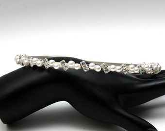 Thin Bridal Headband, Rhinestone and Pearls Wedding Headband, Wedding Accessories Pearl Headpiece