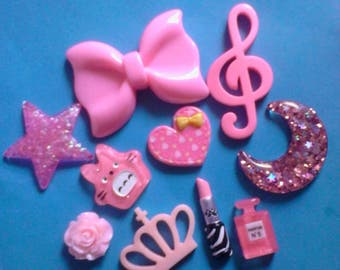 Sale sale--kawaii girly pink charm cabochons. 10 pcs. # 516----USA seller