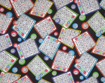 Fun Tossed Bingo Card Print Pure Cotton Fabric--By the Yard