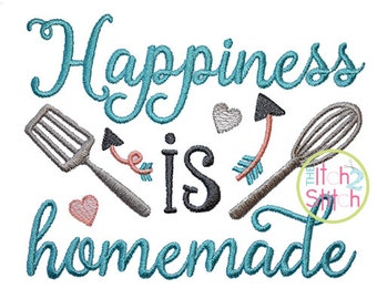 Happiness is Homemade embroidery design, INSTANT DOWNLOAD now available