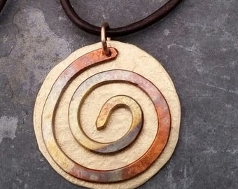Spiral necklace, flame painted copper necklace, brass pendant, spiral pendant, swirl necklace, brass necklace, adjustable leather cord