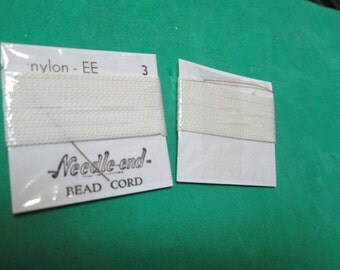 One (1) 2 Yard Card of Size 3 Needle End Bead Cord - White Nylon - EE