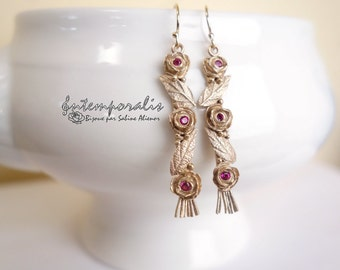 Bronze earrings with pink corundum OOAK, SABO26