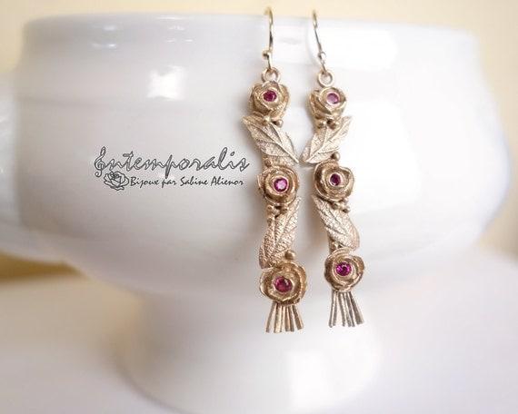Bronze earrings with pink corundum OOAK, SABO26