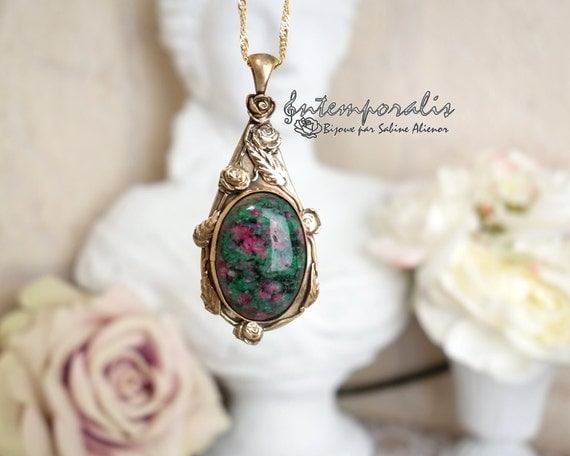 Bronze and fuschite ruby pendant, OOAK, SAPE24
