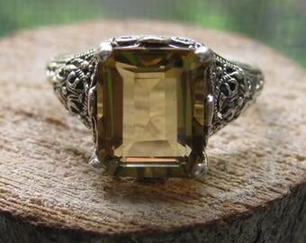 Vintage Victorian Style Ladies Women's Ring Size 8 with Princess Cut Citrine Gemstone