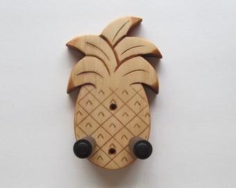 Unique ukulele wall mount hanger, hand carved pineapple