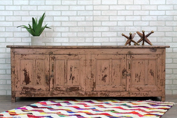 Long And Low Media Console Sideboard Distressed Paint