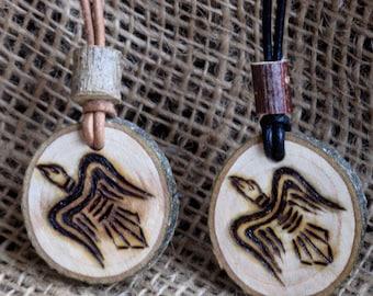 Viking Raven Pendant, Amulet, Odins Ravens. Wood, Norse, Viking jewellery, Viking replica, Hugin Munin, Necklace, Pagan, Heathen, Asatru,
