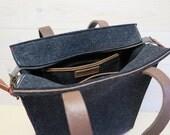 """FELT TOTE BAG black large bag with zipper. Laptop shopper leather details 13"""" laptopbag large feltbag ecofabric ecobag dutch design"""