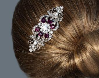 purple hair comb,purple hair clip,amethyst hair comb,purple bridal jewelry,bridal hair comb,wedding hair comb,wedding,purple bridal shoes