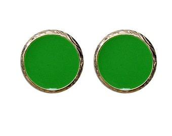 Personalized Monogrammed Kelly Green disk earrings --Free Vinyl Monogramming--Fast Turnaround