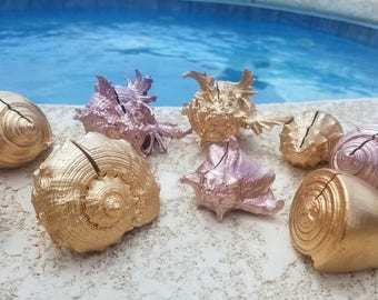 Rose Gold Precious Metals Glam Beach Wedding Metallic Assorted Sliced Cut Seashell Shell Place Cards Table Settings Holder Guest List Events