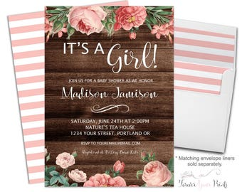 FLORAL It's A Girl Baby Shower Invitations - Girls Baby Shower Invitation - Rustic Baby Shower Invitation - Country Style Baby Shower - Boho